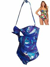 Ladies Jungle Print Halterneck Swimsuit - Swimwear Bandeau Strapless Padded New