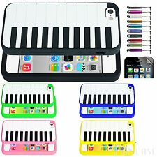 Popular Piano Music Key Soft Rubber Silicone Skin Case Cover iPhone 5 +Free Film