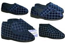 MENS NAVY TOUCH CLOSE MACHINE WASHABLE SLIPPER IN SIZES 6-12