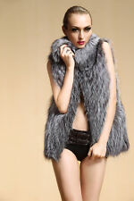 Real Natural Pieces Silver Fox Fur Vest Winter Warm Leather Gilet Waistcoat