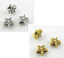 200pcs Tibetan Silver/Gold Star-shaped Spacer Beads 6x3mm  (Lead-free)