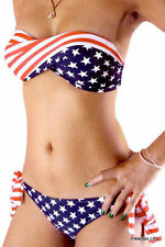 LADIES USA STARS & STRIPES TWISTED BANDEAU PADDED TOP - TIE BOTTOM - S - M - L