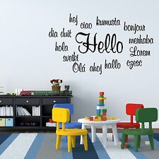 Hello Foreign Language Quote Bonjour Hola Wall Sticker Art Decoration Vinyl Q8