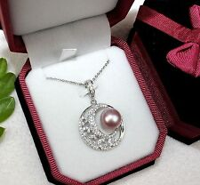 B8407 luxury STERLING SILVER freshwater Pearl Pendant Necklace (Peach, Lavender)