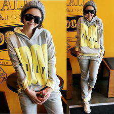 Casual Womens Trendy Tracksuit Sweat Suit Hoodies Sweats Hooded Big Letters 4968