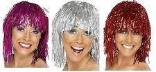 tinsel wig metallic gold silver pink red 70's disco