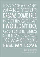 Make You Feel My Love Song Lyric Quote -  Adele Bob Dylan Print Poster Quote A3