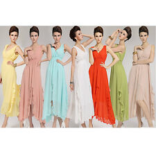 Chic Women Beach Bohemian V Neck Chiffon Ball Party Evening Long Dress Skirt