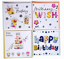 Birthday Greeting Cards Party Celebrations Silver Multi-pack Square Cards