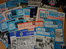 Bolton Wanderers HOME programmes 1970's M-R FREE UK P&P