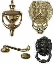 GEORGIAN Style URN Lion Head Plate Polished Solid Gold Brass Door Knock Knocker