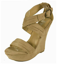 Garzon! By Paprika Strappy Platform Wedge Sandal in Oatmeal Faux Suede