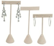 <HOT DEAL> BEIGE VELVET EARRING DISPLAY T STAND DISPLAY SHOWCASE EARRING STAND