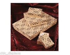 LOT OF 20~50~100 Pcs CLASSIC COTTON FILLED BOXES  NECKLACE GIFT BOX DAMASK BOX