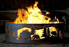 Solid Steel Campfire Fire Ring w Bears N' Cubs Cutouts [ID 401514]