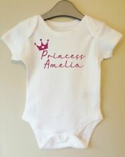 PRINCESS PERSONALISED BABY BODY GROW SUIT VEST GIRL BOY CLOTHES GIFT IDEA FUNNY