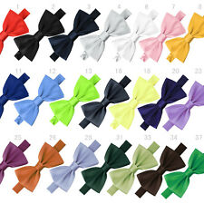 Fashion Pure Plain Bowtie Polyester Pre Tied Wedding Bow Tie Many Colors