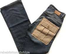 """GAS JEANS Jeans Button Fly Patch Pocket Boot Cut Distressed Blue Sizes: W30""""-36"""""""
