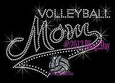 MOM Banner Tail - Volleyball - Rhinestone Iron on Transfer Hot Fix Bling Sports