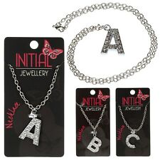 Initial Necklace Silver and Crystal Alphabet Personalised A-Z Choose your letter