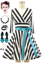 50s Style Black & White STRIPE CrossOver Bust FULL CIRCLE Pinup Dress w/Cut-Out