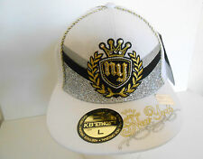 NEW BLING DIAMONTE CROWN NY FITTED BASEBALL HATS FLAT PEAK EXCLUSIVE CAPS SIZE L