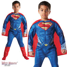 FANCY DRESS COSTUME ~ BOYS MUSCLE CHEST SUPERMAN MAN OF STEEL AGE 3-8 YEARS
