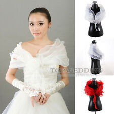 New Elegant Ivory/White/Red Chiffon Bridal Wrap Wedding Shawl Bolero Shrug Cape