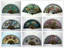 Dance Foldable Fabric Flower Print Lace Trim Hand Fan Multi-Pattern Decoration