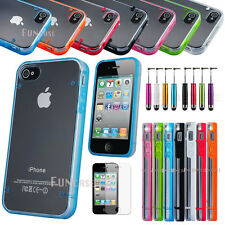 Clear Hybrid Rugged Rubber Matte Hard Case Cover For iPhone 4 4S + Free Pen Film