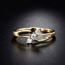 Unique 18k gold filled white swarovski crystal Solitaire wedding ring Sz5-9/J-R