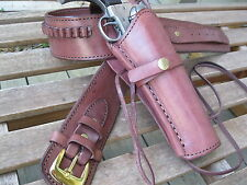 "Cartridge Belt w Smooth Holster Combo- .22 Caliber- Brown - Leather - 32"" to 52"""