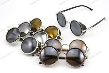 Designer Inspired Atlas Steampunk Round Metal Sunglasses w/ Side Shields, Colors
