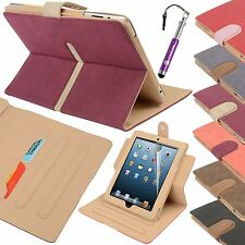 Suede Leather Wallet Smart Flip Case Cover for the new iPad 3 & 2 w Auto Sleep