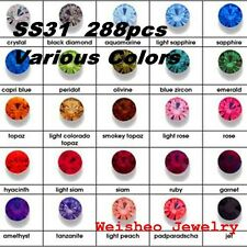 SS31 (6.6mm) Point back Rhinestones Crystal GLASS Chatons Strass Colors 288ps