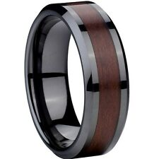 8MM Ceramic Wedding Ring Back Black Red Wood Inlay SZ 7-15 Band Engagement Jewel