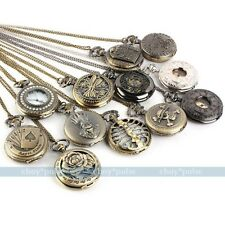 Antique Vintage Bronze Tone Men Pocket Chain Quartz Pendant Watch Necklace Gift