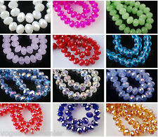 100pcs Glass Crystal Faceted Diy Loose Finding Spacer Beads 6x8mm 60 Color Upick