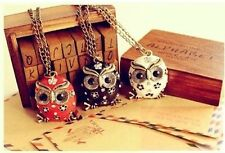 1pcs Occident Retro style fashion owl enamel crystal Long chain charms necklace