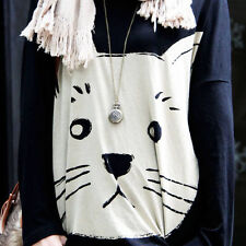 2013 Fashion Scoop neck Cat Print Womens Casual Loose Long Sleeve T-Shirt Blouse