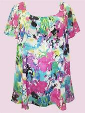 Marina Kaneva Pink Mix Water Color Print Dip Hem Tunic - Sizes 16 to 30/32 NEW