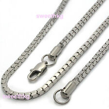 Unisex LIGHT Stainless Steel Chain Flat Square Snake Link Necklace