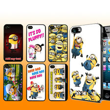 DESPICABLE ME MINIONS iPHONE 4 4S 5 PLASTIC BLACK WHITE CHROME CASE COVER NAME