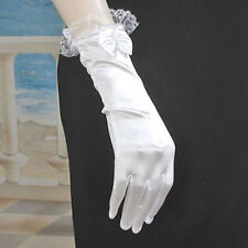 Lace Trimmed Satin Wrist Gloves With Bow (G261)