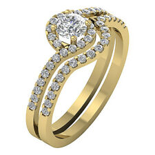 Halo Engagement Bridal Ring Set Band Vintage 1.01 Ct Real Diamond 14K White Gold