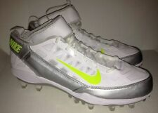 NEW Mens NIKE Air Zoom SuperBad 3 White Silver Molded Lacrosse Football Cleats