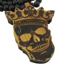 """WOODEN KING SKULL PENDANT PIECE w/ 36"""" CHAIN NECKLACE GOOD WOOD CROWN HIP HOP"""