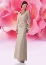 Graceful Chiffon Mother of the Bride Dress Gown With Jacket/Bolero Size Free New