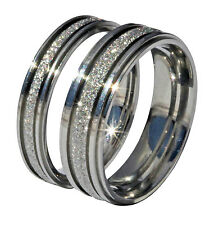 MENS WOMENS SANDBLAST DIAMOND SPARKLE ENGAGEMENT PROMISE COMMITMENT RING BAND