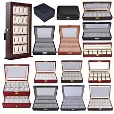 4 6 10 12 20 24 Wood/Leather Watch Case Glass/Acrylic Top Display Box Men Gift
